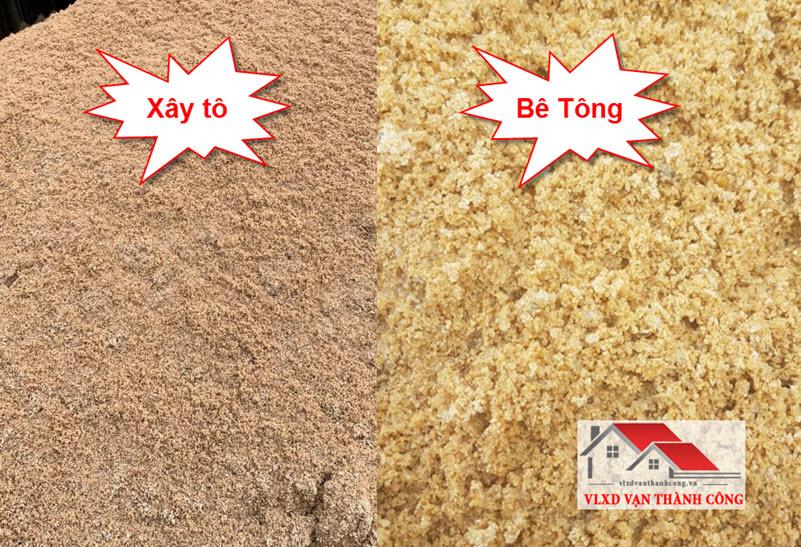 Các loại cát vàng: xây tô và đổ bê tông