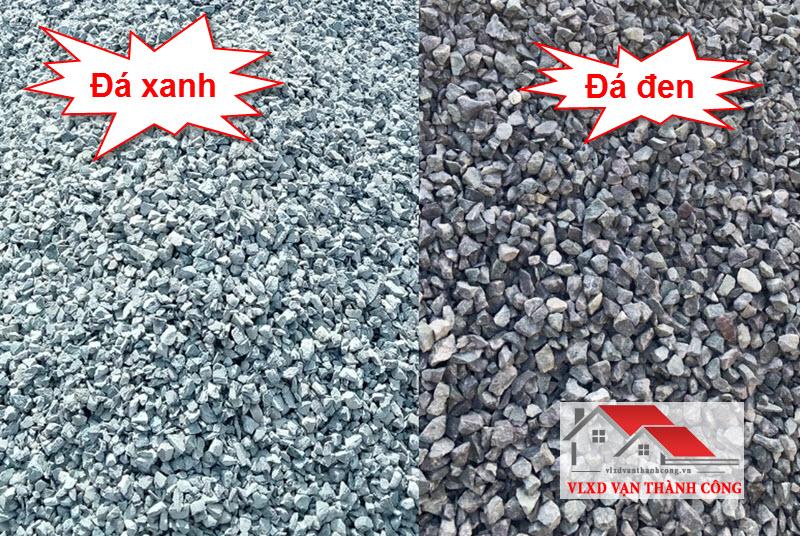 Đá 3x4 xanh (loại 1) và đá 3x4 đen (loại 2)