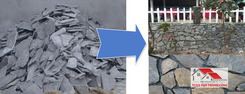 Đá chẻ bao được ứng dụng phổ biến trong lát sân vườn, lát tường